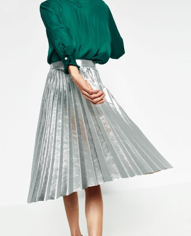 Zara SIlver Pleated Skirt.jpg